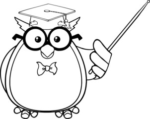 Black And White Wise Owl Teacher Character With A Pointer