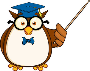 Wise Owl Teacher Cartoon Mascot Character With A Pointer