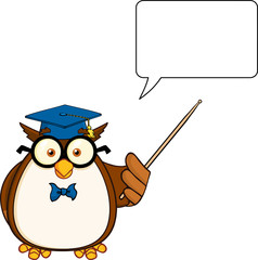 Wise Owl Teacher Character With A Pointer And  Speech Bubble