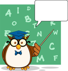 Wise Owl Teacher Character With A Speech Bubble And Background