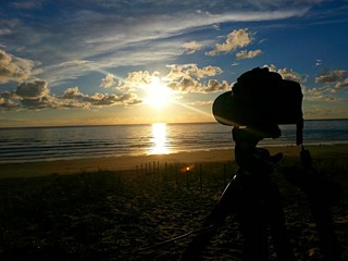 Camera taking sunset