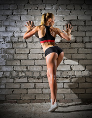 Muscular woman on brick wall (normal version)