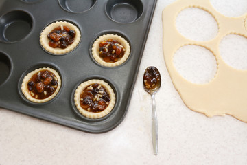 Making mince pies in the kitchen