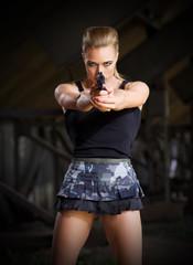 Woman in uniform with gun (normal version)