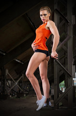 Sporty woman in orange skirt (normal version)