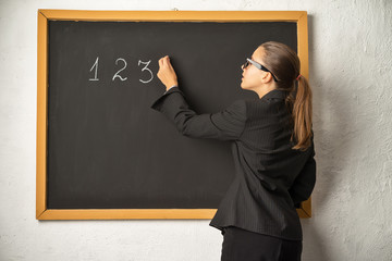 Teacher near blackboard. Math lesson.