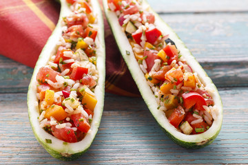 Zucchini stuffed with rice and vegetables