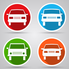 Cars flat vector icons