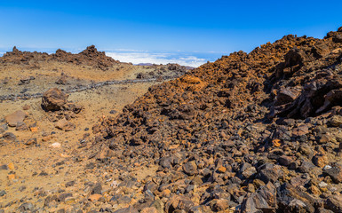 Desert formed by volcanic rocks at the top of the Teide volcano