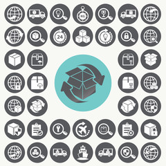 Supply chain and logistics icons set. Illustration eps10