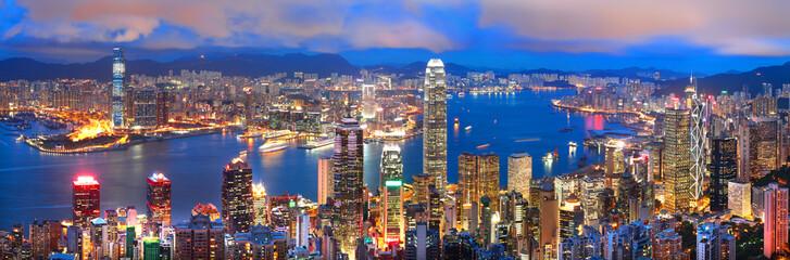 hong kong sunset panorama