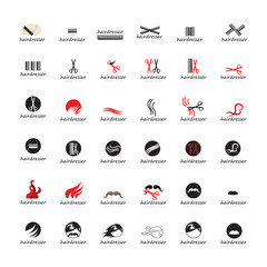 Hairdressing Icons Set - Isolated On White Background