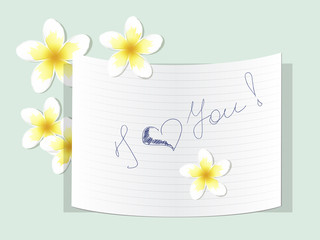 A note with words of love and flowers