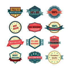 Set of vintage badges and labels. Illustration eps10
