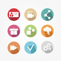 Business icons set color, with shadow and pixel