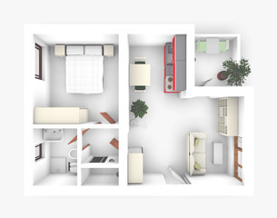 3D of interior apartment roofless