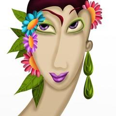 donna con fiori tra i capelli