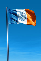 New York City (USA) flag waving on the wind