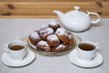 Donuts with tea