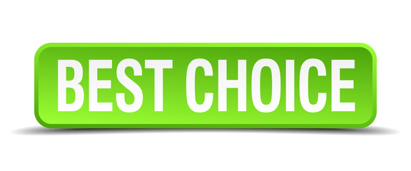 best choice green 3d realistic square isolated button