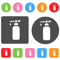 Hand soap icon. Bathroom symbol. Round and rectangle colourful 1