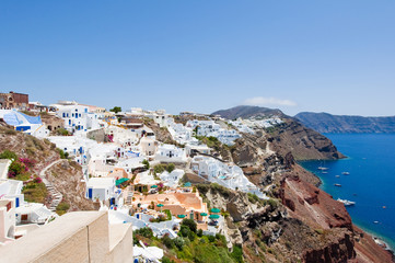 Panoramic view of Oia on the island of Santorini. Thera,Greece.
