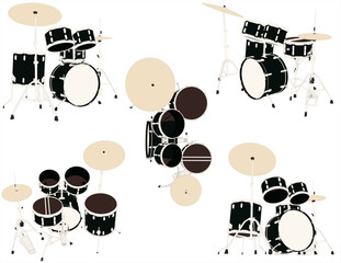 Drums  set of musical instruments in vector
