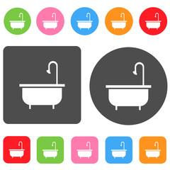 Bathtuby icon. Bathroom symbol. Round and rectangle colourful 12