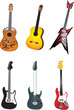Set of guitars vector isolated