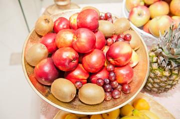 Fruits arrangement. Fresh various fruits elegant decoration
