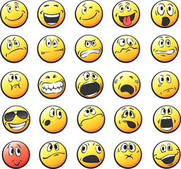 Smile icons vector isolated