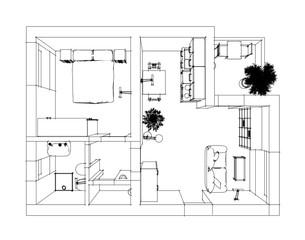 Perspective pen sketch of 3D interior apartment