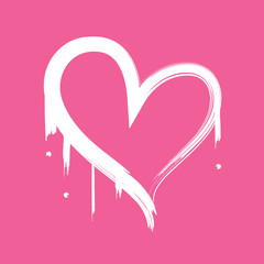 Freshly painted heart outline with pink background