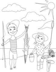 Summer activities for kids coloring page