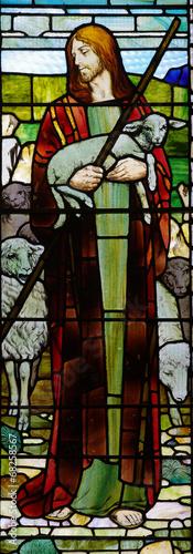 Naklejka Jesus the good sheperd in stained glass
