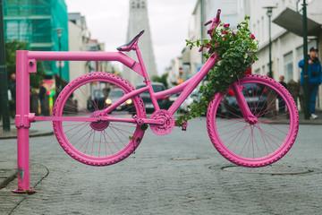 Pink Bicycle Gate in Reykjavik Streets