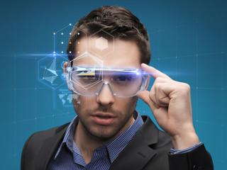 businessman in virtual glasses
