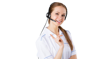 Woman customer service worker, call center