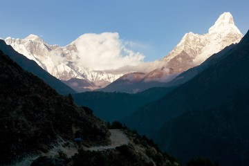 panoramic evening view of Ama Dablam, Mount Everest and Lhotse