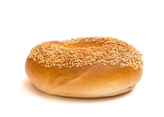 Sesame seed bagel isolated on a white background