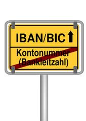 Ortsschild IBAN/BIC