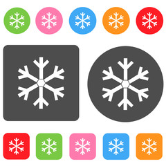 Snowflake icon. Christmas symbol. Round and rectangle colorful 1