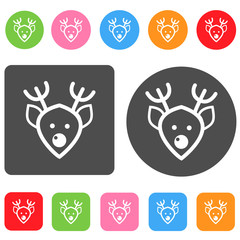 Reindeer icon. Christmas symbol. Round and rectangle colorful 12