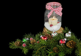 Christmas candle in mason jar
