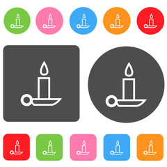 Candle icon. Christmas symbol. Round and rectangle colorful 12 b