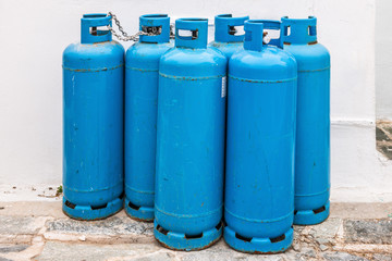 Group of blue gas cylinders