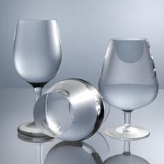 3d render crystal glasses