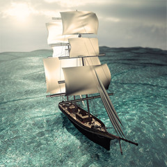 3d render pirate ship