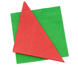 Red and green festive paper napkins, serviettes isolated on whit