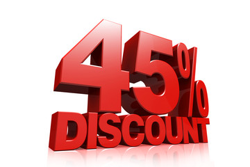 3D render red text 45 percent discount